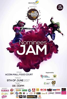 Rush Energy Ghana Dance Awards 2017 Nominees Jam comes off @ Accra Mall, June 9