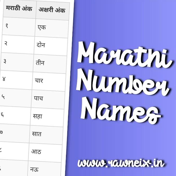Marathi Number Names 1 To 100 PDF