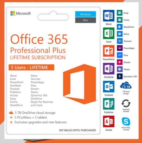 Microsoft Office 365 2019 Pro plus For 5 Devices PC & Mac + 5TB cloud Lifetime