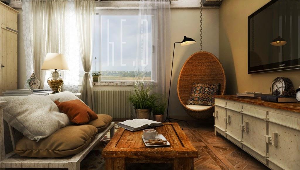 Dormitorio rustico ladrillos y madera for Decoracion de techos de recamaras
