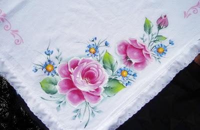 pintura em tecido toalha de rosas