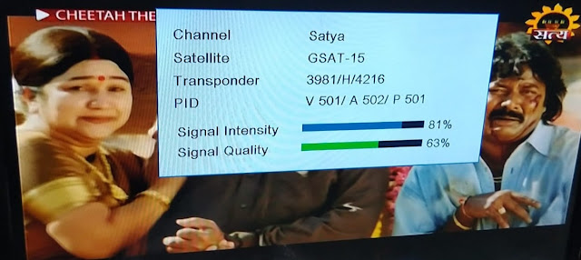 Satya Hindi Movie channel test card added on Insat 4A