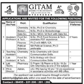 GITAM Biotech Faculty Openings 2021 September