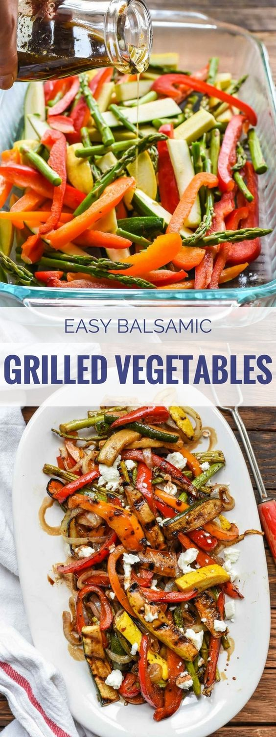 Easy Balsamic Grilled Vegetables with Goat Cheese #balsamic #grilled #vegetables #goat #cheese #veganrecipes #vegetarianrecipes #vegetablerecipes #easyvegetablerecipes