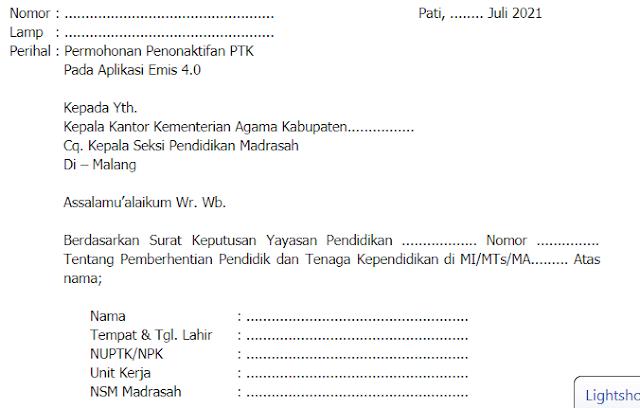 Contoh Surat Penonaktifan Guru di Emis 4.0