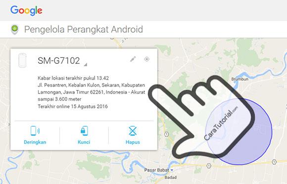 Android Device Manager telah menemukan lokasi ponsel Anda