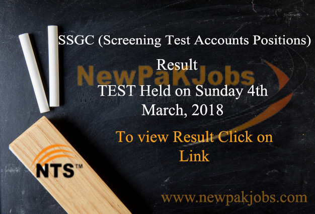 NTS announced Test Result for SSGC  Post, Manager Accounts,Manager Fixed Assets 2018