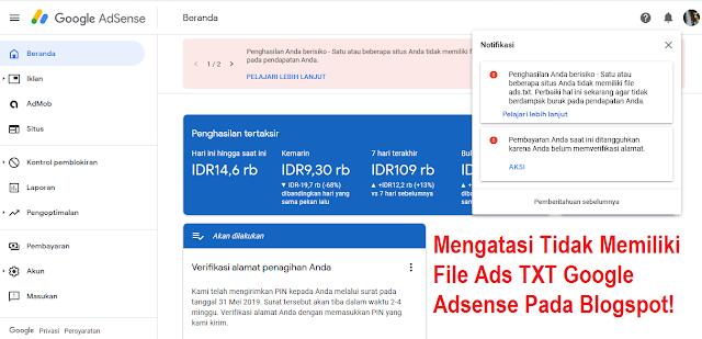Cara Mengatasi Tidak Memiliki File Ads TXT Google Adsense Pada Blogspot
