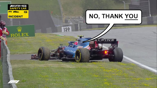 """Ocon retiring from the race, saying """"no, thank YOU"""""""