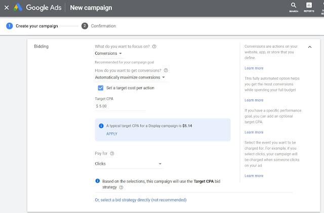 إستراتيجية الدفع لإعلانات الشبكة المرئية من Google