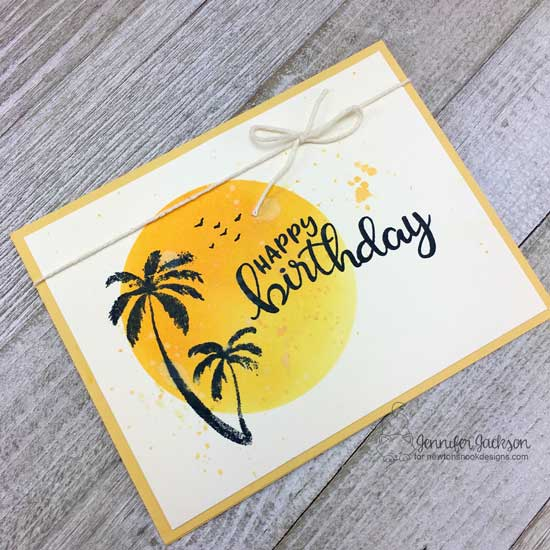 Palm Tree Birthday Card by Jennifer Jackson | Paradise Palms and Birthday Essentials Stamp Sets by Newton's Nook Designs #newtonsnook #handmade
