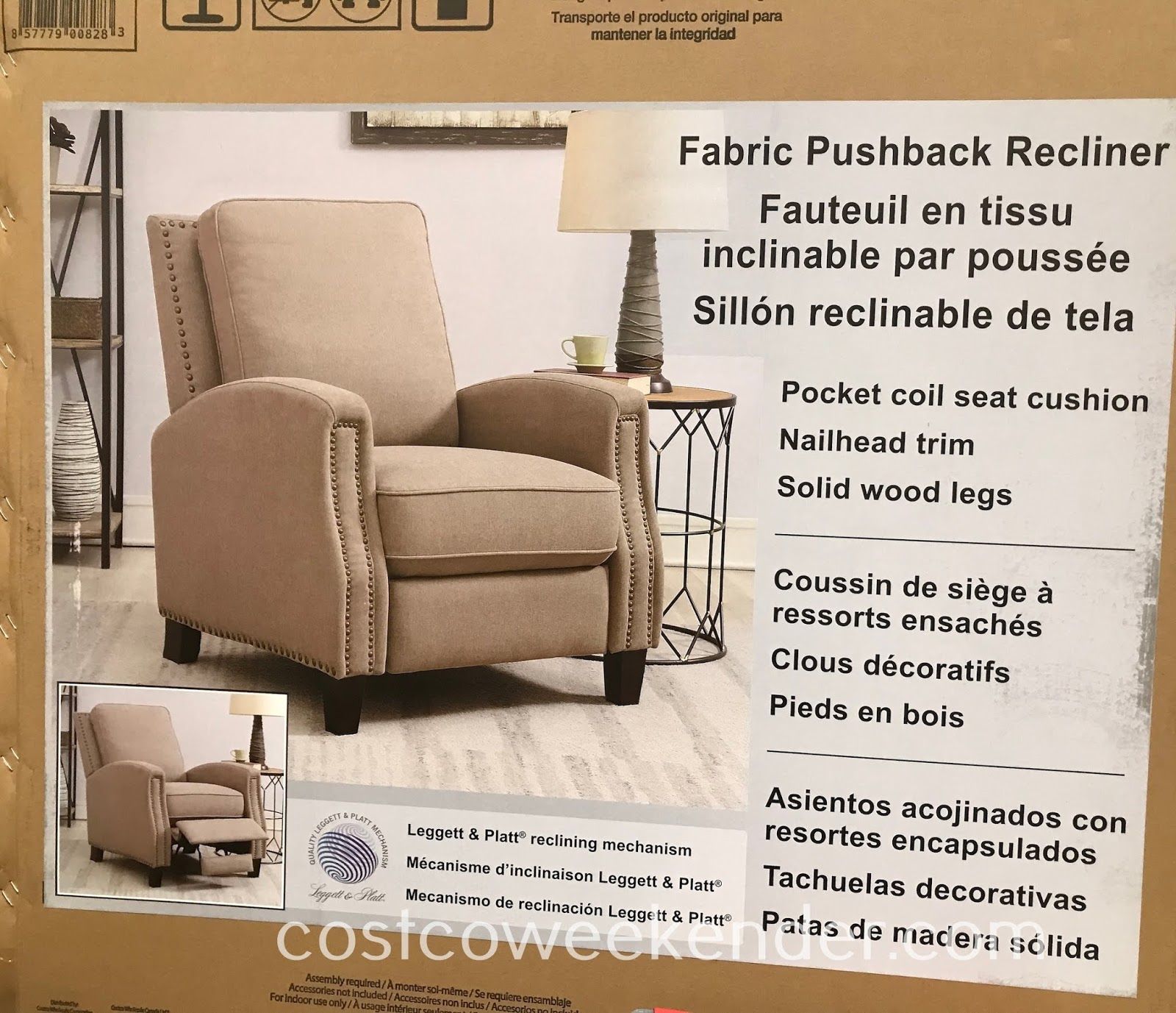 Costco 1335614 - Furnish your home with the comfortable Fabric Pushback Recliner