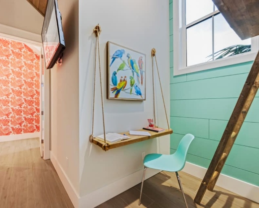 Beach Theme Office Nook Idea with Hanging Shelf Wall Table