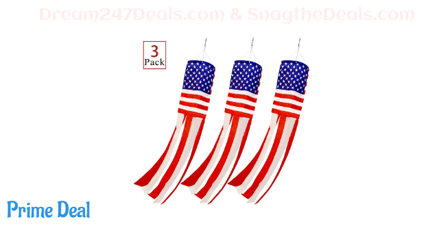 PINCHUANG 3Pcs American US Flag Windsock Stars and Stripes for Flag Day and 4th of July Decorations Outdoor(40 Inch)