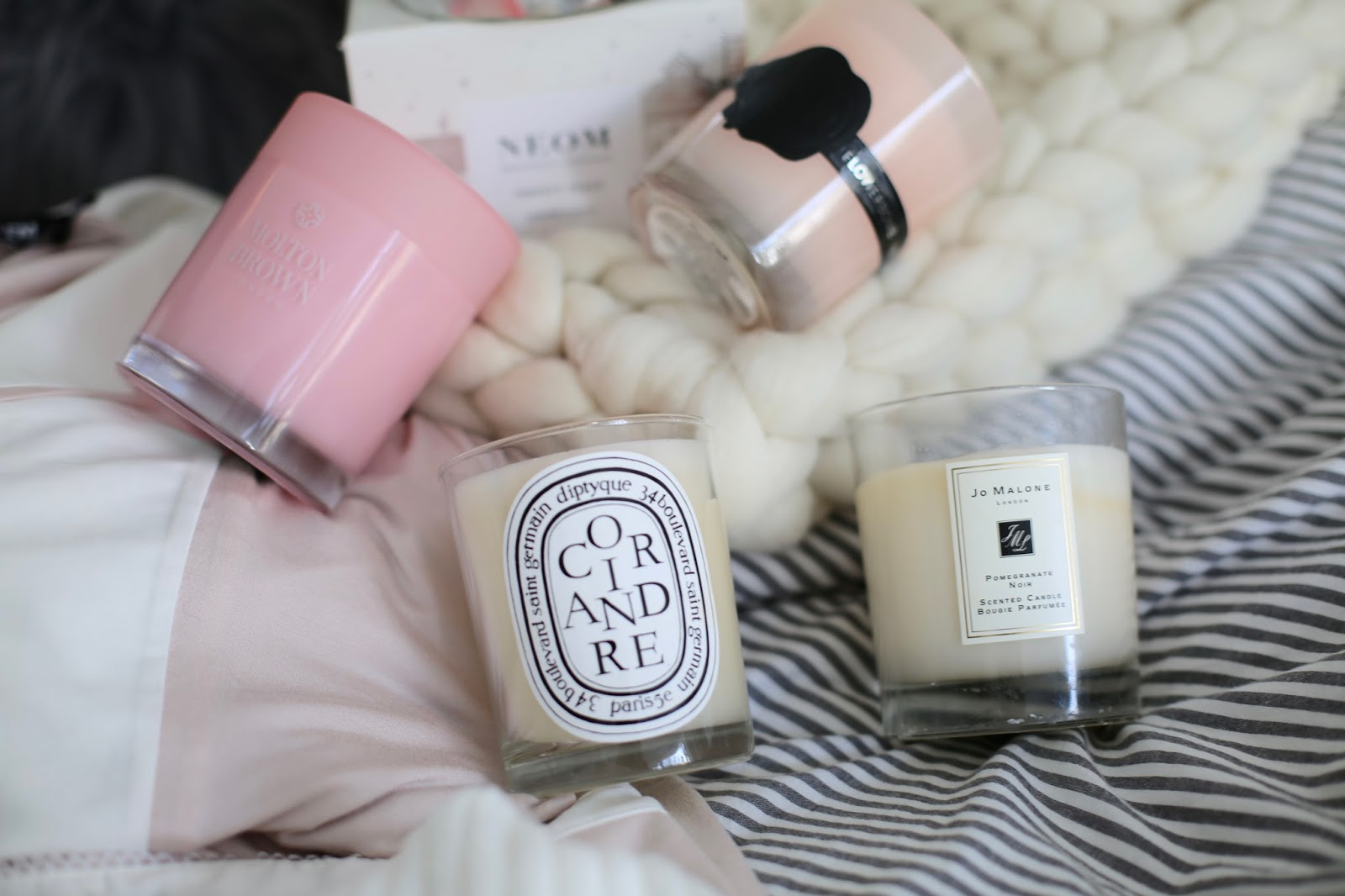luxury candle flatlay