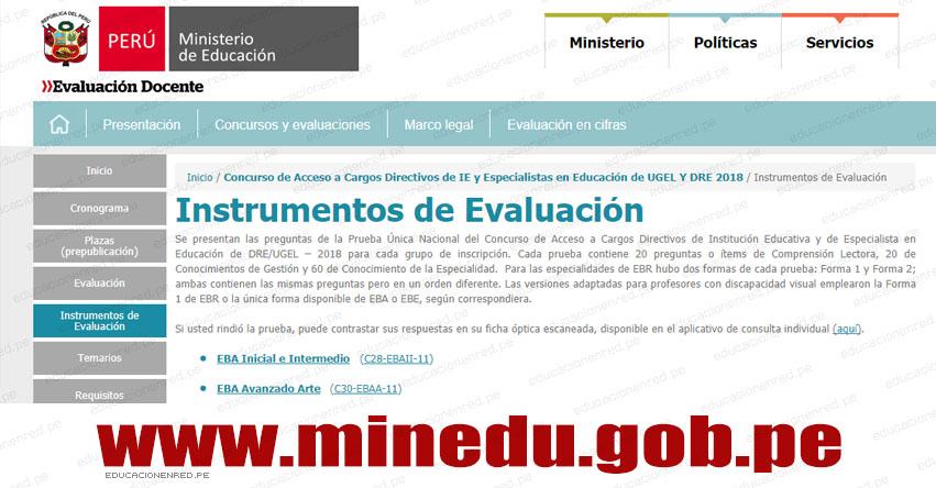 MINEDU: Instrumentos de Evaluación para Acceso a Cargos Directivos de IE y Especialistas en Educación de UGEL Y DRE 2018 (Prueba Única Nacional) www.minedu.gob.pe