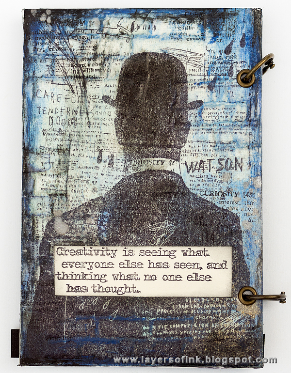 Layers of ink - Sherlock Holmes Notebook by Anna-Karin, with Evolution stamps by Tim Holtz