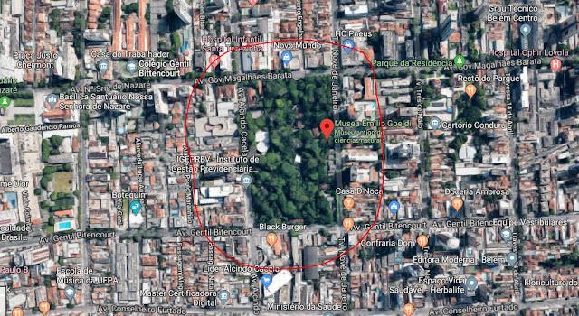 mapa identificando o museu em Belém