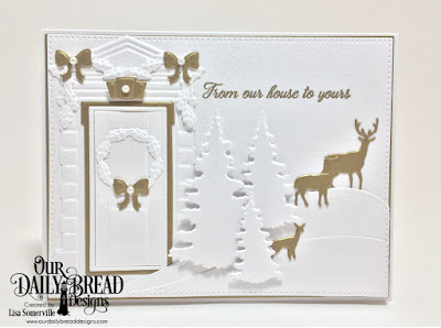 Our Daily Bread Designs Stamp Set: We've Moved, Custom Dies: Christmas Door Greenery, Curvy Slopes, Trees & Deer, Welcoming Door, Pierced Rectangles