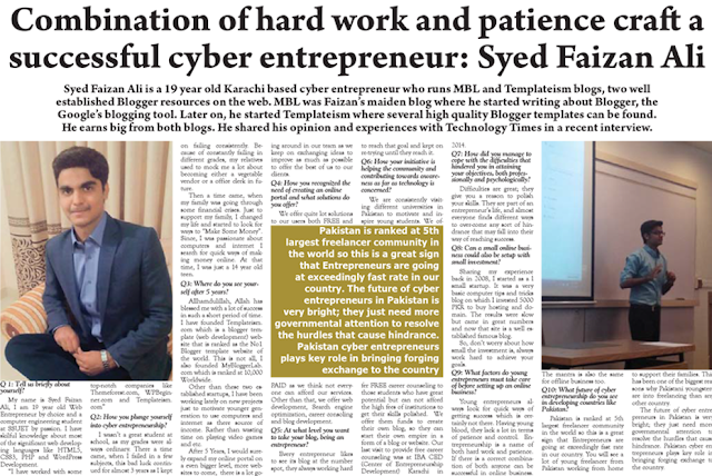 Syed Faizan Ali Interview in Newspaper