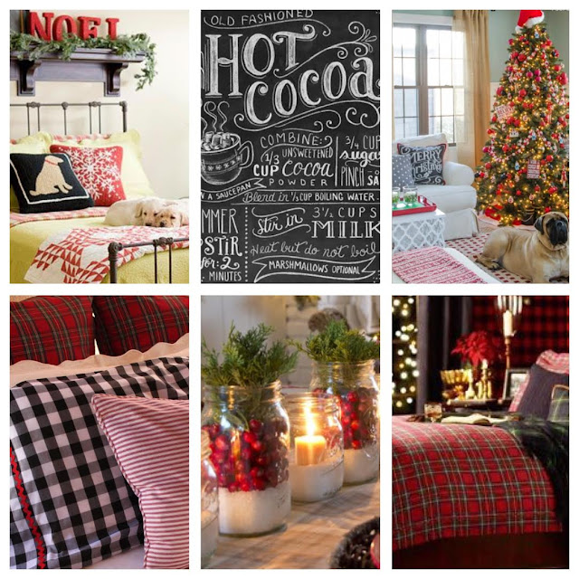Woodland, tartan, chalkboard Christmas decor mood board