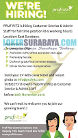 We're Hiring at Pruf Ritz Latest Surabaya November 2019