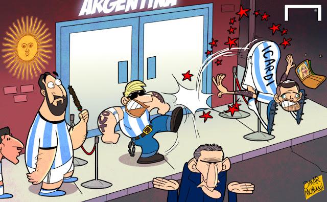 Messi, Higuain, Aguero, Mauro Icardi, Argentina, Wanda Nara, Edgardo Bauza cartoon