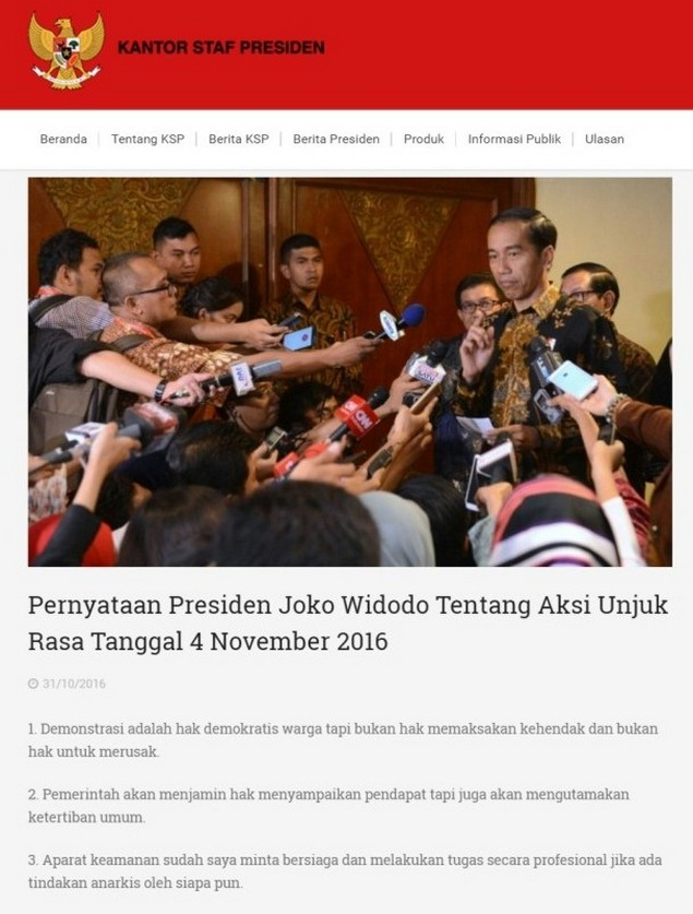 "Tanggapan Umat Islam Atas ""Pernyataan Presiden Joko Widodo Tentang Aksi Unjuk Rasa Tanggal 4 November 2016"""