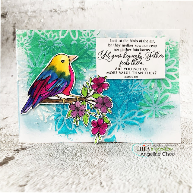 ScrappyScrappy: Unity Stamp with Graciellie Designs & Phyllis Harris - Do Not Worry #scrappyscrappy #unitystampco #gracielliedesign #phyllisharris #cardmaking #card #handmadecard #papercraft #rubberstamp #donotworry #bibleverse #bibleart #faithart #documentedfaith #birdstamp #janedavenport #mermaidmarkers #birdsoftheair #rainbowbird #timholtz #distressembossingglaze #embossingglaze #tcwstencil #fiberpaste #mixedmedia #glaze #watercolor