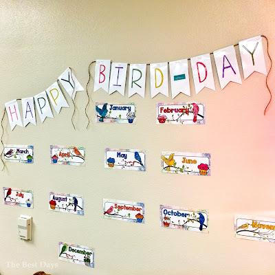 Watercolor Bird Birthday Display