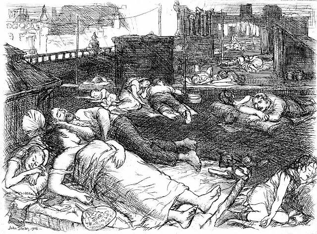a John Sloan print USA, people sleeping on rooftops on a very hot night
