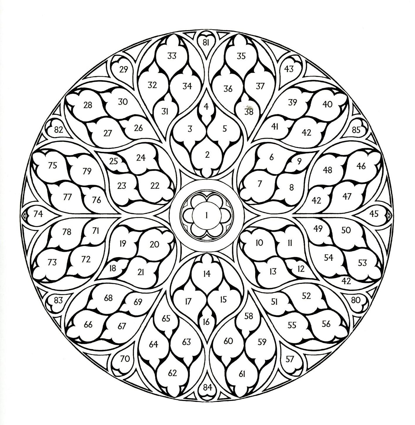 frieze tile: Rose Window drawings
