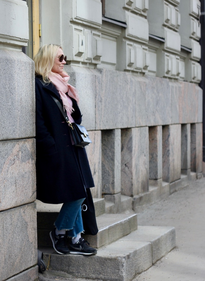 wool coat, jeans, sneakers