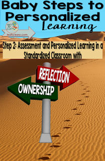 This is the second part of my series, Baby Steps to Personalized Learning. I'm using this series to discuss small ways to bring personalized learning into our standardized classrooms. This week is all about assessment.