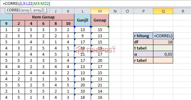 Uji Reliabilitas dengan Excel