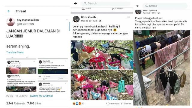 Viral Pria Curi Pakaian Dalam dan Koleksi Nekat Posting Sosmed