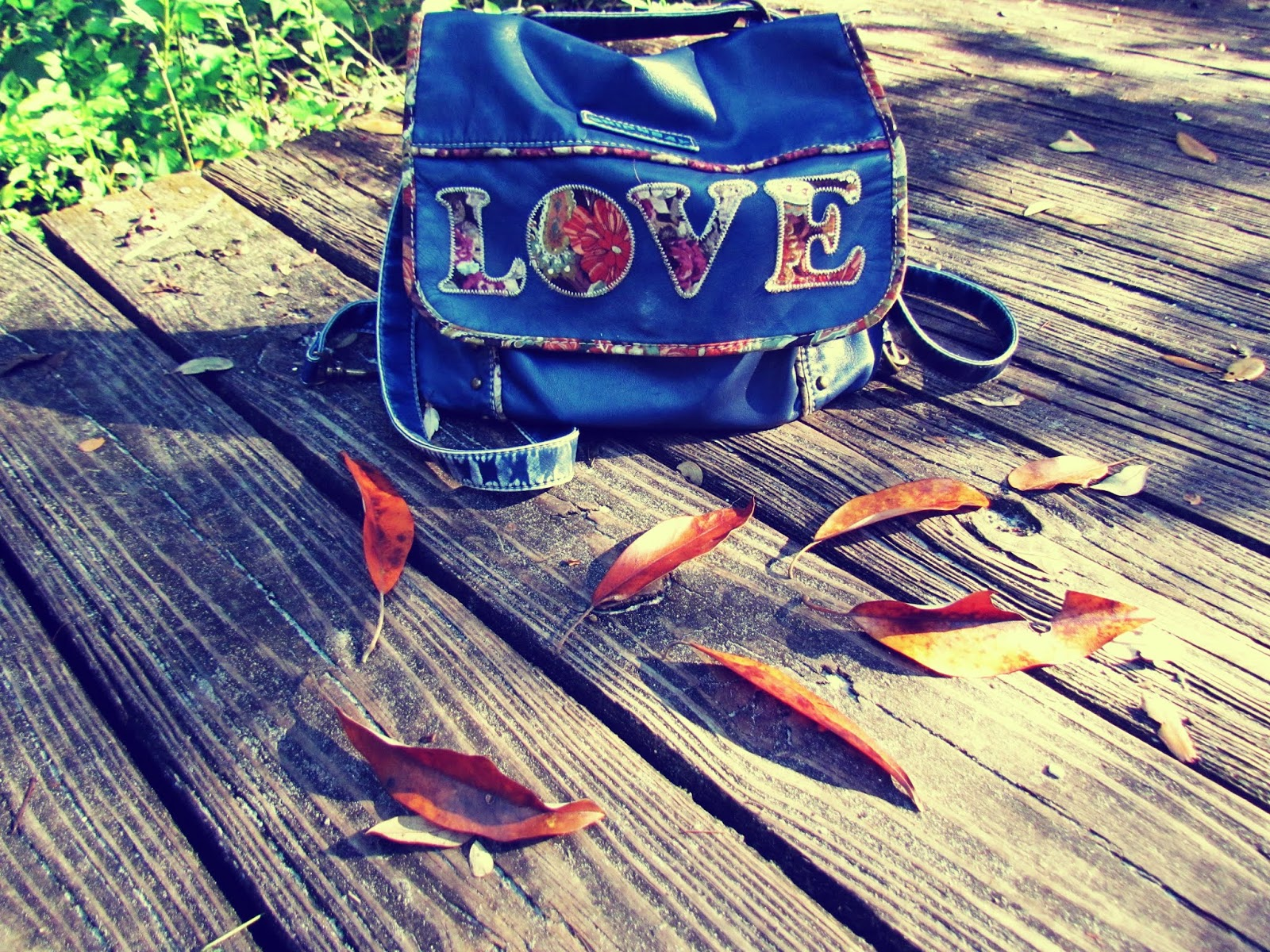 A blue backpack with the word love written on it with fall foliage in the heart of nature