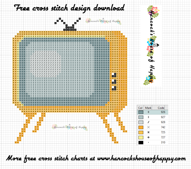 Free Vintage TV Cross Stitch Pattern to Download
