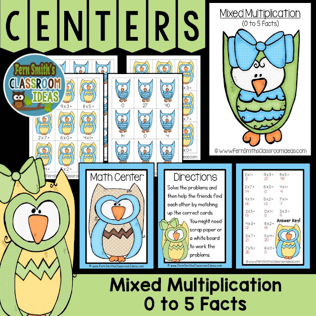 Fern Smith's Classroom Ideas Mixed Multiplication Center Games at TeacherspayTeachers.
