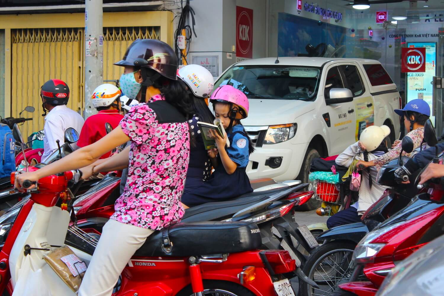 ho chi minh city girl on motorcycle