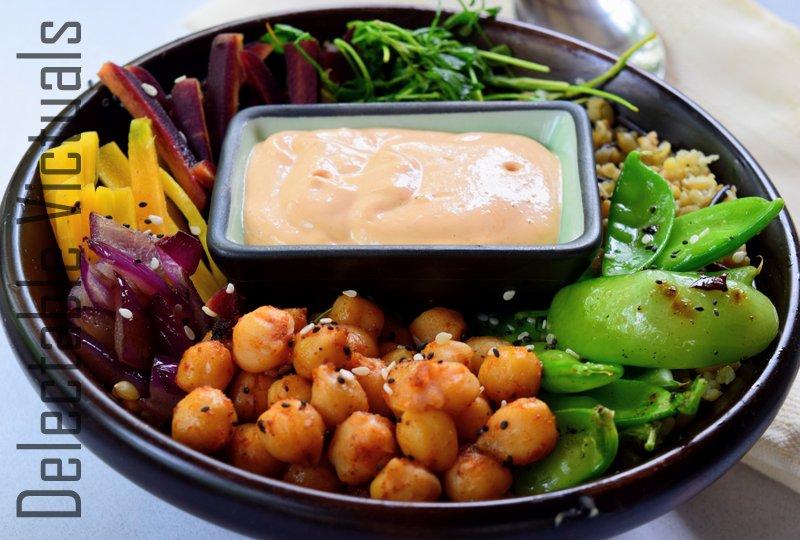 buddha bowl vegetarian Fenugreek Leaves, Snap Peas, Purple Carrots, Chickpeas, Freekeh Bowl