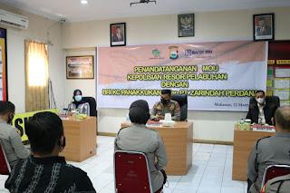 Penandatanganan Mou Polres Pelabuhan Makassar bersama BRI dan Zarindah Perdana