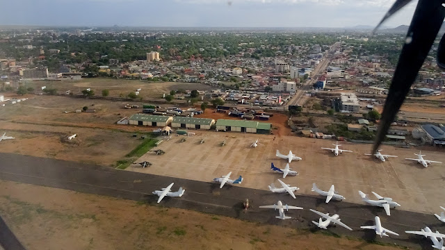 Lots of Red Cross and NGO planes in South Sudan