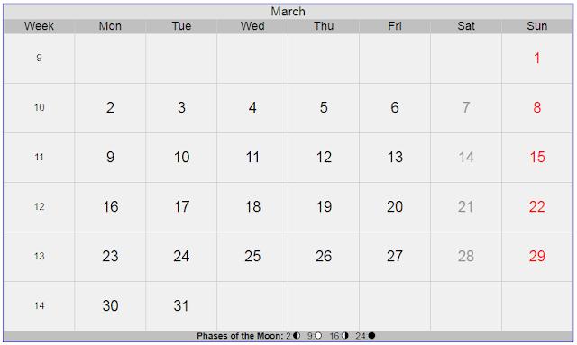 Calendar for March 2020 Sweden
