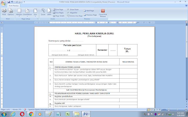 Format hasil penilaian kinerja guru kelas/mata pelajaran
