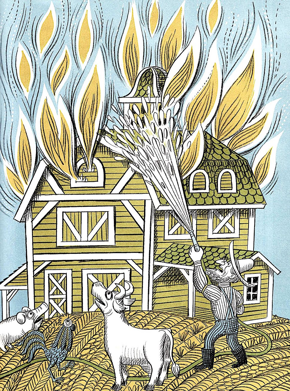 an illustration by Jim Flora of a farmer fighting fire on his farm