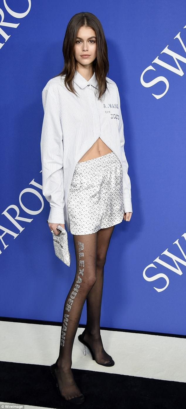 Kaia Gerber flaunts midriff at the 2018 CFDA Fashion Awards