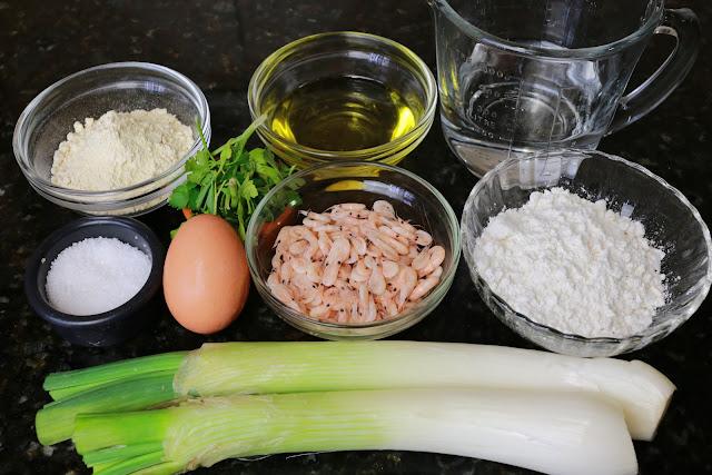 Ingredientes para tortillitas de camarones