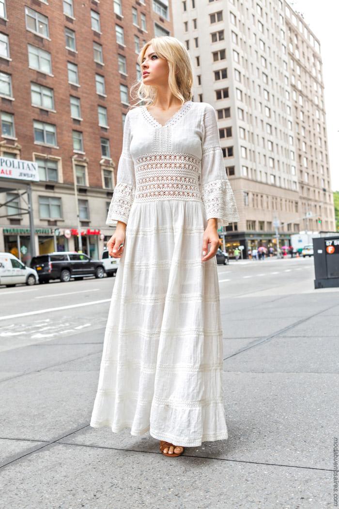 Vestidos largos blancos verano 2020.