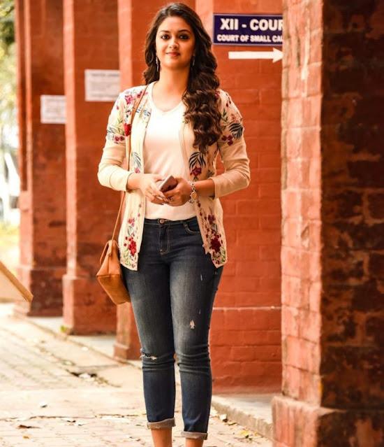 Beauty Queen Keerthy Suresh Latest Photos In White Dress Navel Queens